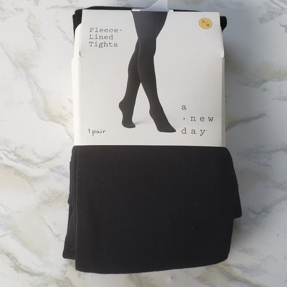 Fleece Lined Tights Flat Knit Black Small Medium